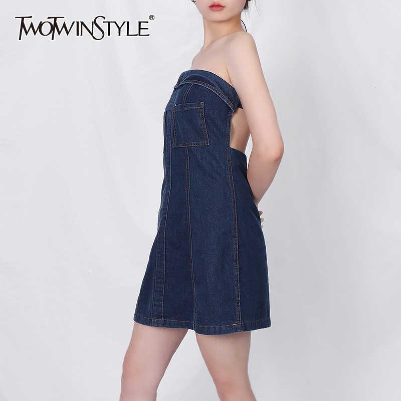 TwoTwinstyle aushöhlen Denim für Frauen trägerlos Backless High Taille Sexy Kleid Weibliche 2021 Sommer Mode Neue Bekleidung8l18