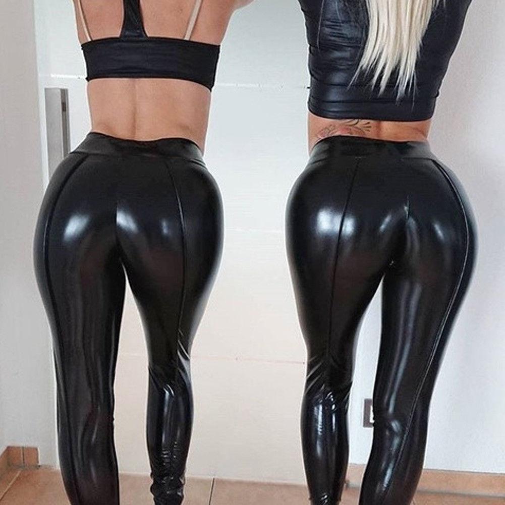Kadın PU Faux Deri Tayt Pantolon Siyah Yüksek Bel Parlak Bling Streç Tayt Islak Bak PVC Kalem Pantolon Pantolon