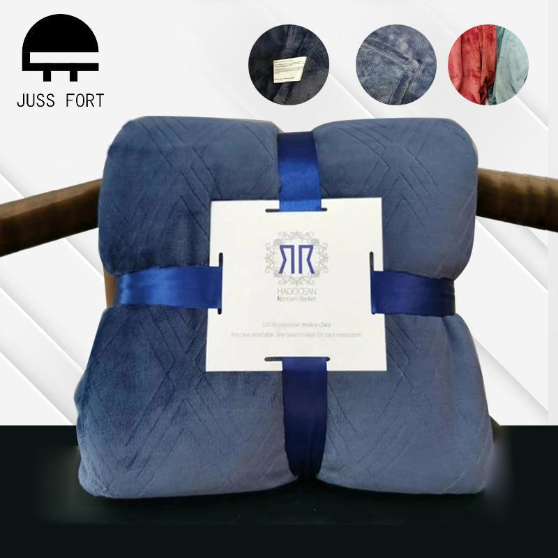 Blankets Super Soft Emboss Raschel Blanket Flannel Portable Travel For Home Bedspread Sofa Car Aircraft Use Office Cover