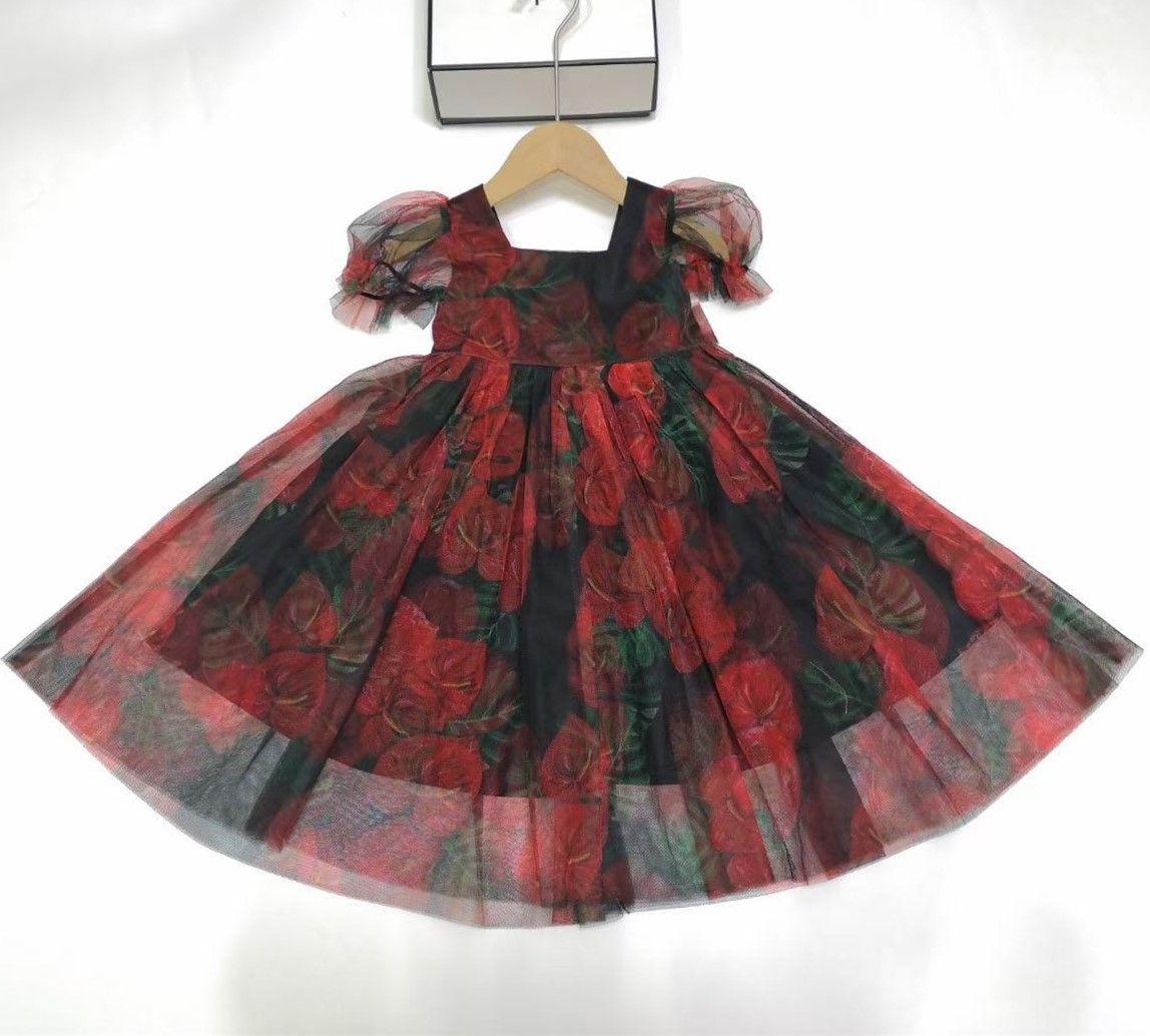 2021 Yeni Bebek Kız Yaz Çocuk Elbise Kısa Kollu Prenses Elbiseler Kız Elbise Çocuklar Güzel Elbise
