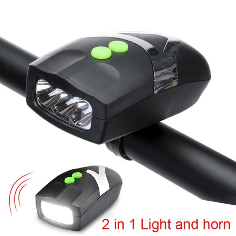 Bicycle Light Front Head Lights Cycling Lamp Horn Headlight Ring Bell Electric Bike Rainproof