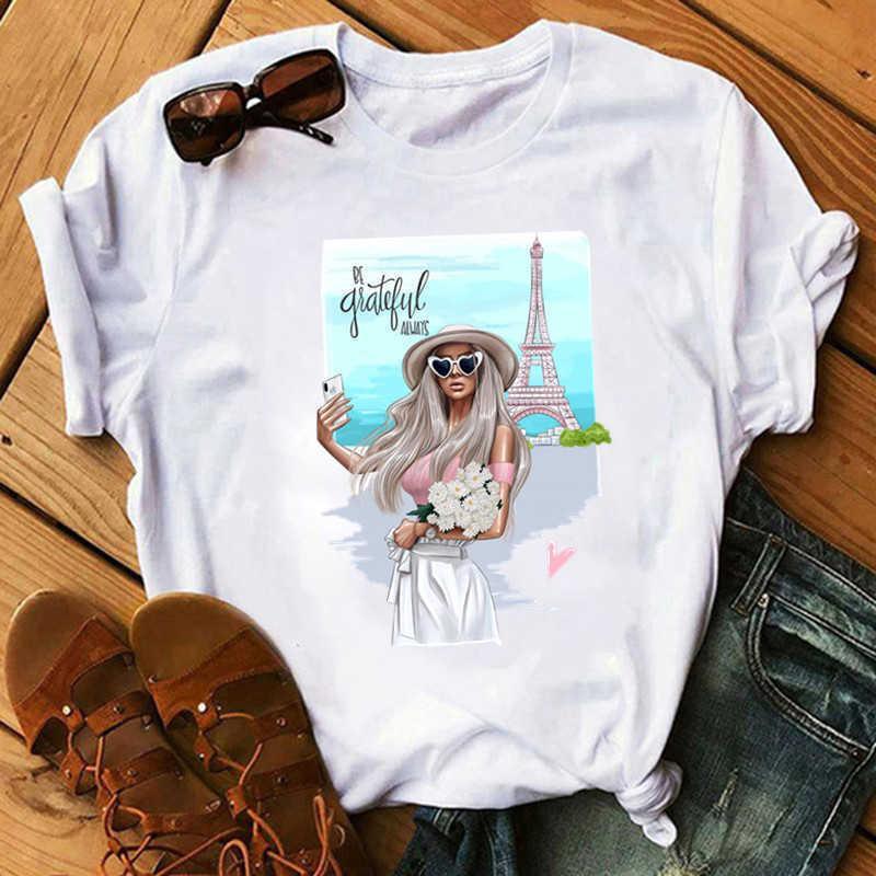 Paris Fashion Girl Thin Section Mens Tops Female Men Clothes Summer Harajuku Streetwear White