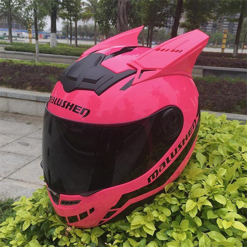 Cascos de motocicleta Malushen Casco Mujer Niño MotorCross Equipo Proteger CAT Personalidad Cara completa Motor con gafas