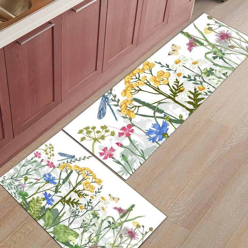 Flores mariposa libélula cocina alfombra entrada casa entrada felpa dormitorio decoración de piso alfombra baño antideslizante alfombras