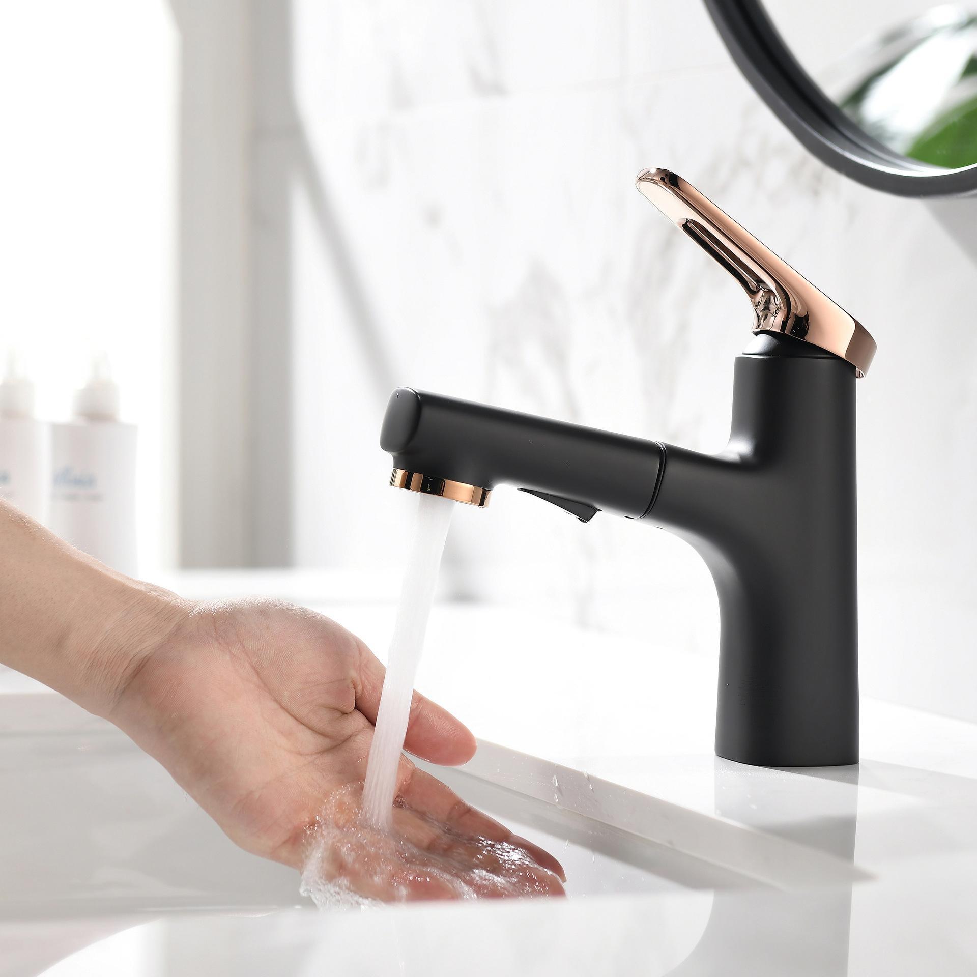 Badezimmer Becken Wasserhaarige Mischer Waschbecken Wasserhahn Ziehen Badezimmer Wasser Chrom Messing Modernes Waschbecken