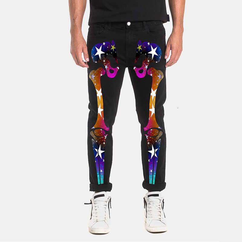 Kot Erkekler Siyah Pantolon Denim Erkek Streetwear Baskı İskeleti Yüksek Garit Slim Kalem Tulum