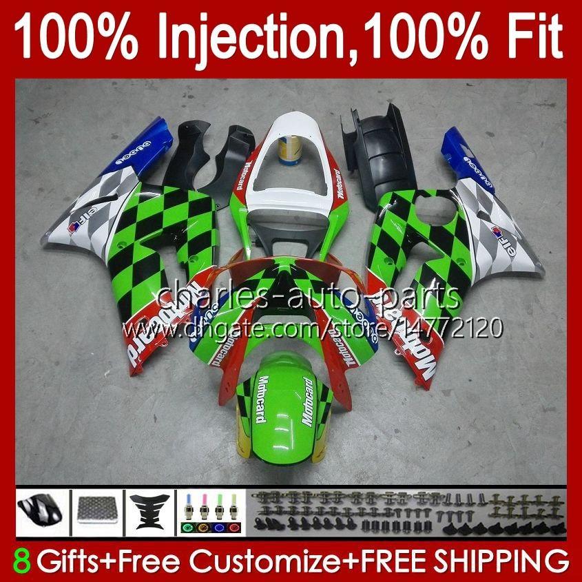 Injection Mold Kit For KAWASAKI NINJA ZX-636 ZX600 ZX 6R 6 R 600 CC 03-04 Body 8No.16 ZX 636 600CC ZX6R 03 04 ZX600C ZX636 ZX-6R 2003 2004 Fairing OEM Bodywork green stock