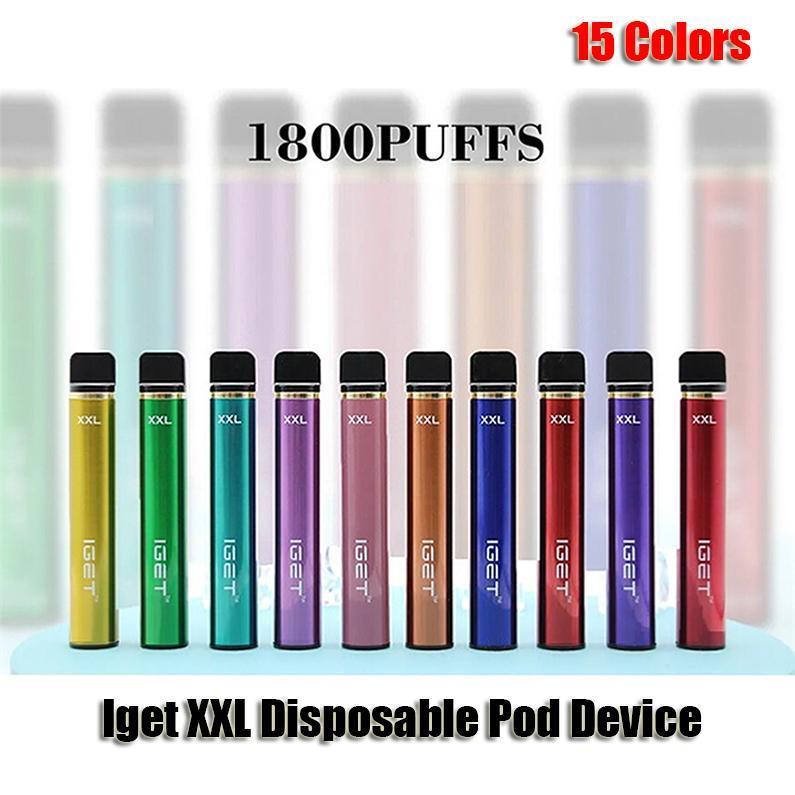 E-Zigaretten Original IGET XXL Einweggerät Zigaretten 1800 Puffs 2.4ml Vorgefüllte VAPE-Pods 950mAh-Batterie Aviliable Shion
