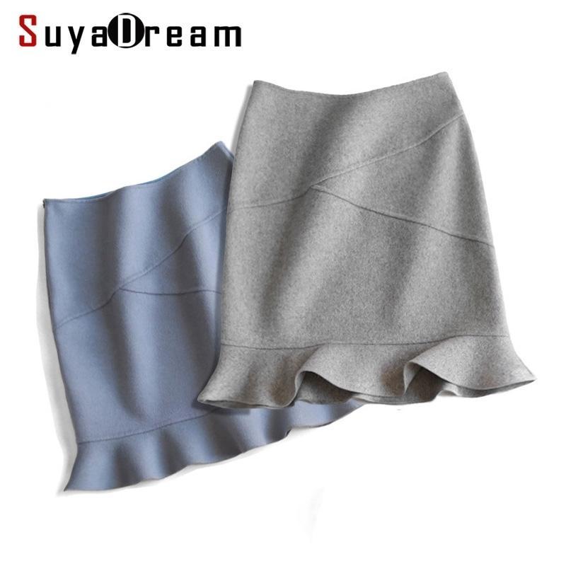 SUYADEREAM Jupe en laine de laine à 90% laine 10% Nylon bureau Dame Jupes Mermaid Mini Jupe d'hiver pour femmes 210603