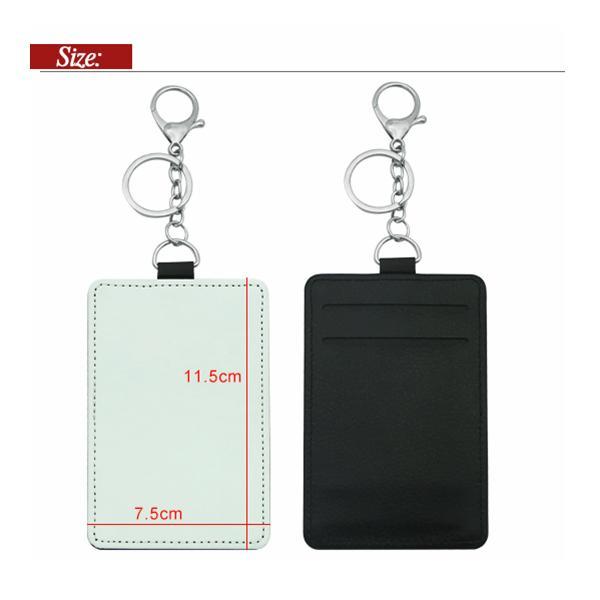 Suporte do cartão de sublimação PU couro em branco cartões de crédito saco caso transferência de calor Imprimir DIY detentores com keychain gwd8069