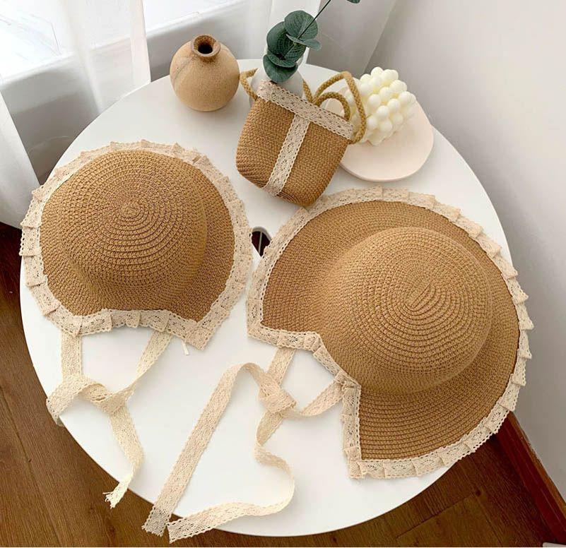 Girls Straw Hat Summer Grass Braid Lace Bucket Hats Beach Shoulder Bags 2Pcs/Sets Princess Kids Caps 2-6Y B5706
