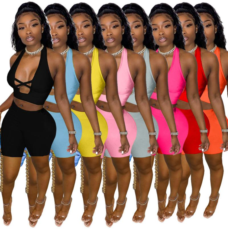 Women Two Pieces Pants Summer Short Sleeve Sportwear High Elastic Fabric Sport Suit Hollow Out Tracksuits Slim Sexy Cross Cut Outfits