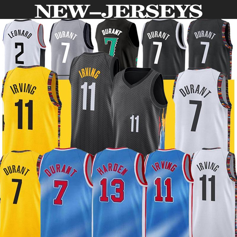 13 Sertlen Jersey Kevin 7 Durant 11 Irving Basketbol Forması 2020 2021 Kyrie Yeni Şehir Erkek Basketbol Formaları Sıcak Satmak