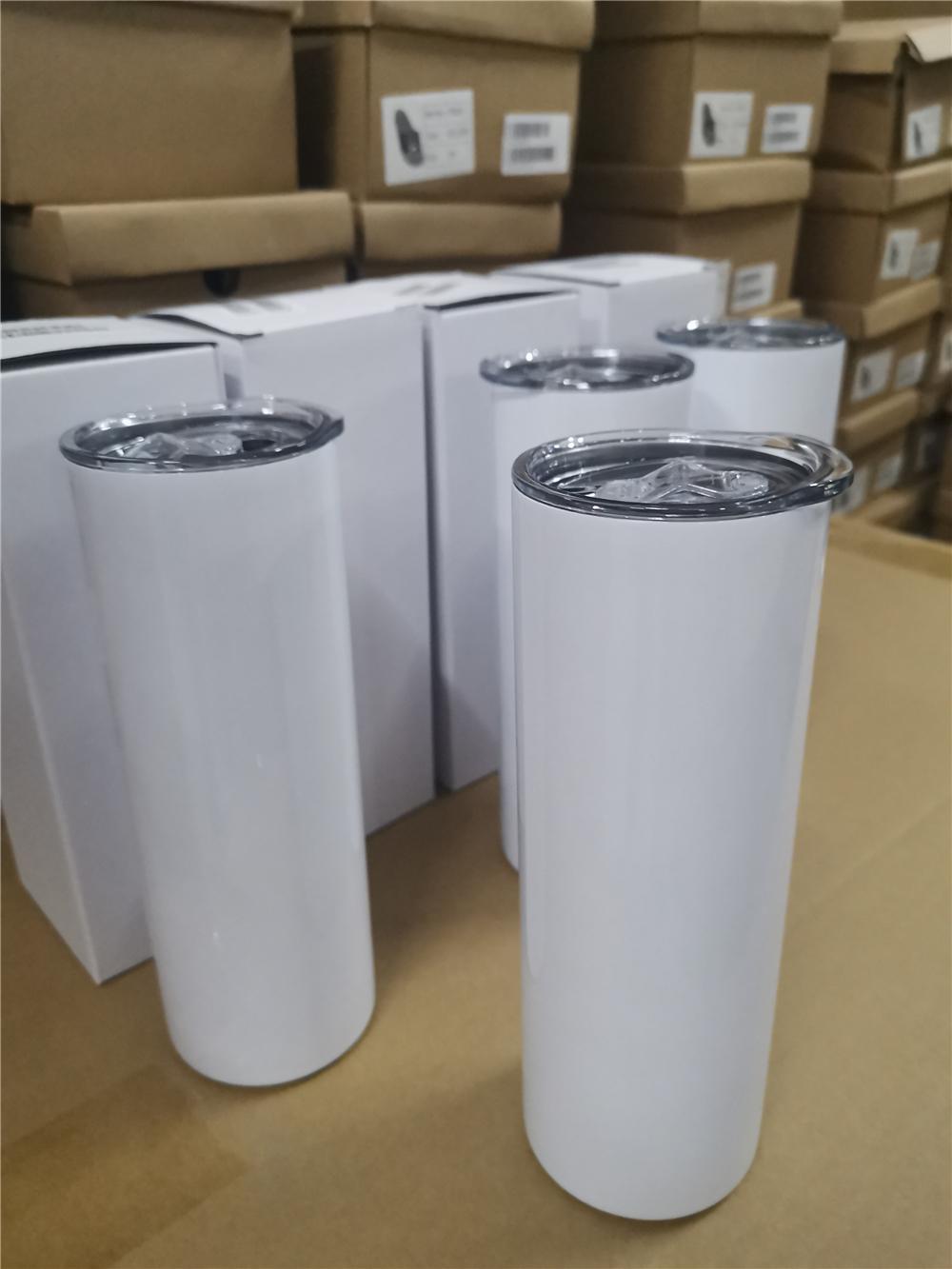 Nuovi bicchieri dritti skinny a sublimazione a sublimazione 20 once con bottiglie d'acqua in acciaio inox di paglia drinkware ufficio tazze da partito tazze da festa DHL spedizione