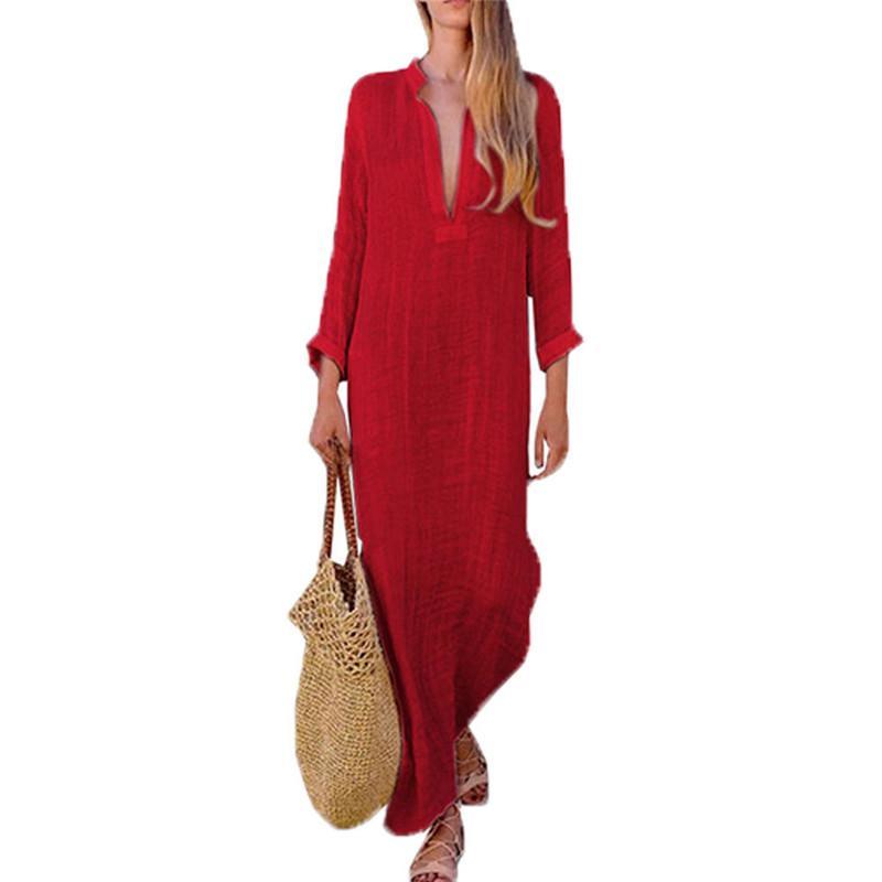 V-образные вырезыванные платья Платья Thnic Style Boho модные платья хлопчатобумажные льняные с длинным рукавом Maxi платье сплит женщины винтажные сексуальные