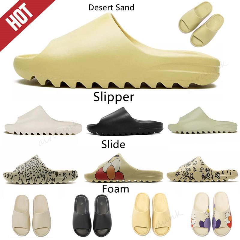 Kanye West yeezy Slide Clog Sandal 2021 Foam Runner  Triple Black  Fashion Slipper Women Mens  yezzy yeezys Tainers bone 450 Designer Beach Sandals Slip-on Shoes