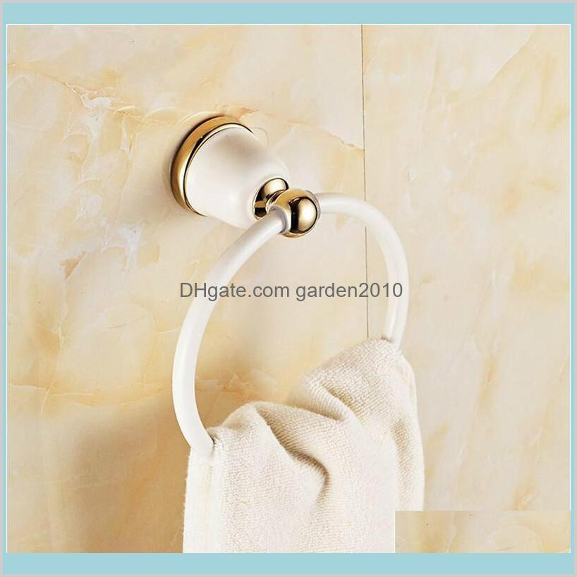 Towel Rings Bathroom Hardware Bath Home & Garden Modern Holder Europe Style White Baking Painting Plated Gold Copper Accessories Drop