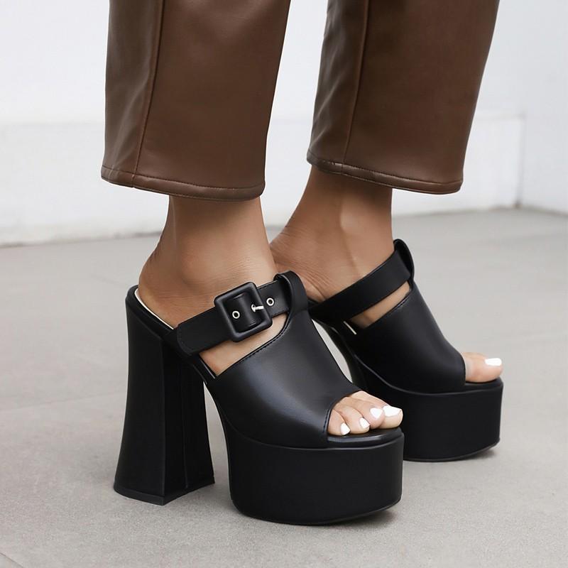 Sandals Women Summer On Platform Slippers 2021 Pu Leather Peep Toe Belt Buckle Exetrem High Heels 15cm Club Shoes Woman Size 44