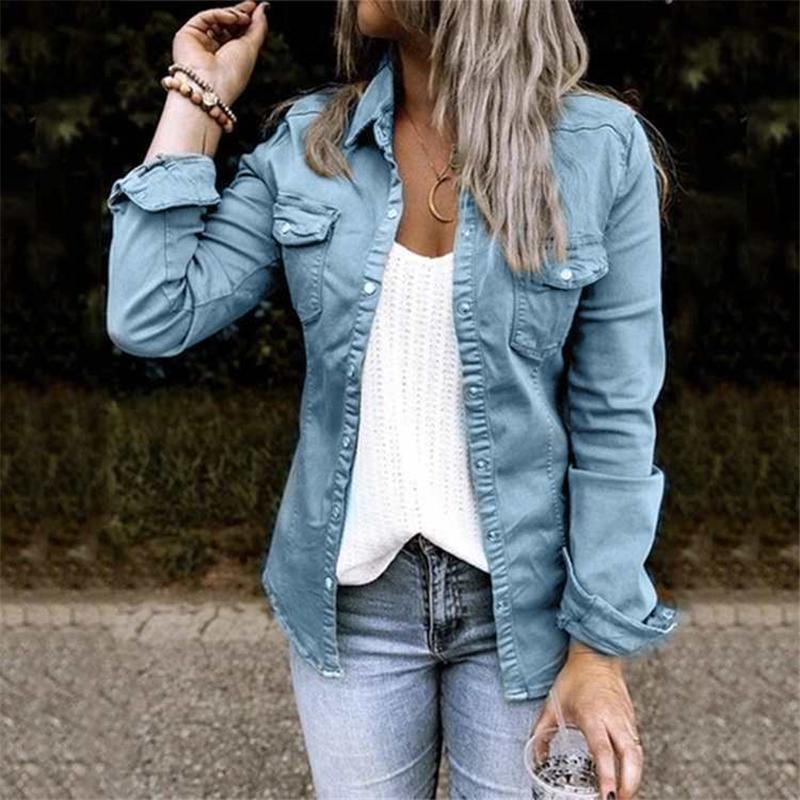 المرأة الخندق معاطف الخريف سترة مع الفراء الأسود جان الدينيم منتصف طول قميص معطف التخسيس الصلبة النساء المحاصيل