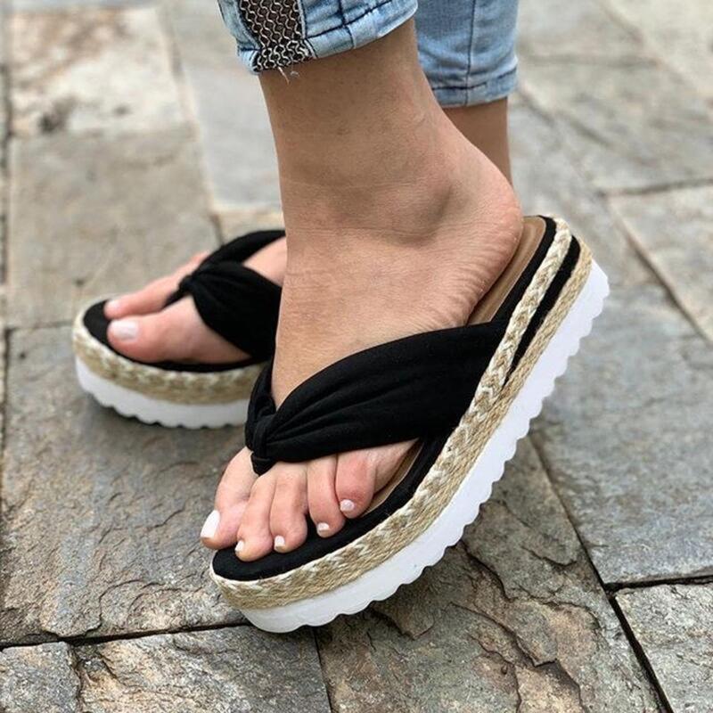 Scarpe da donna Slip-on Slip-on Flat Beach Punte aperte Sandali traspiranti PIATTAFORMA SOLO PIATTAFORMA PIATTA PIATTA'S 2021 Pantofole Slipper Weave