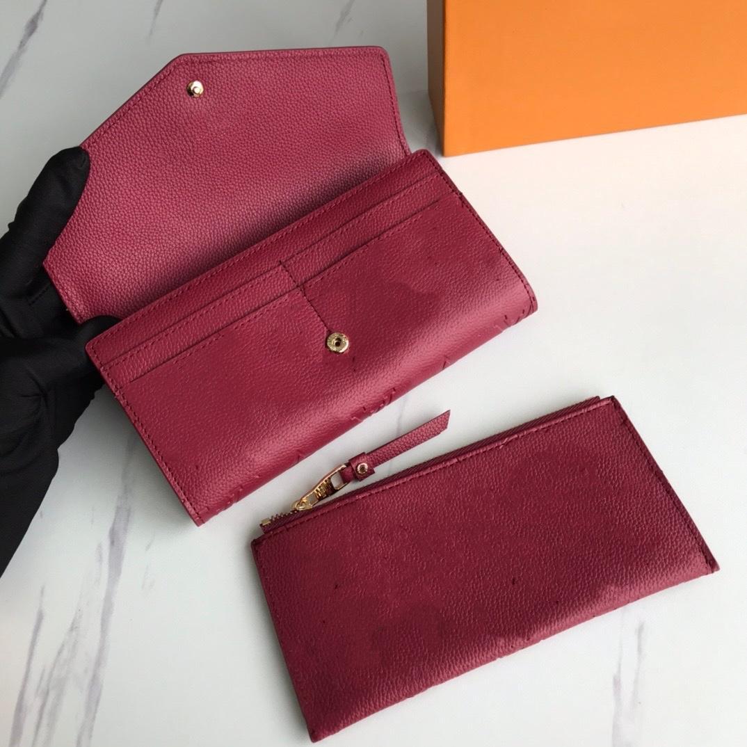 Empreitung Leder Sarah Composite Brieftasche Lange Standard Wechselrich Little Reißverschluss Beutel Schwarz Rosa dunkelrot 4 Farben Mode Frauen Münze Geldbörse mit Deckel
