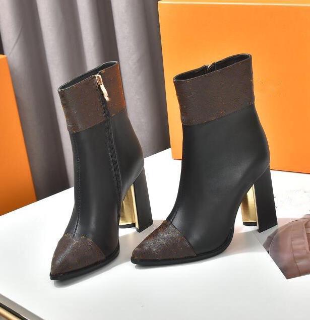 2021 - Botas de mujer Talón grueso 9.5cm Zapatos de trabajo Moda de cuero Desierto occidental lluvia Invierno nieve tobillo Martin 35-40