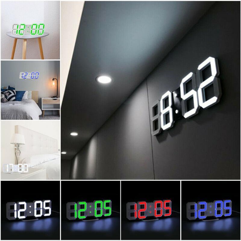 Modern Design 3D Large Wall Clock LED Digital USB Electronic Clocks On The Luminous Alarm Table Desktop Home Decor