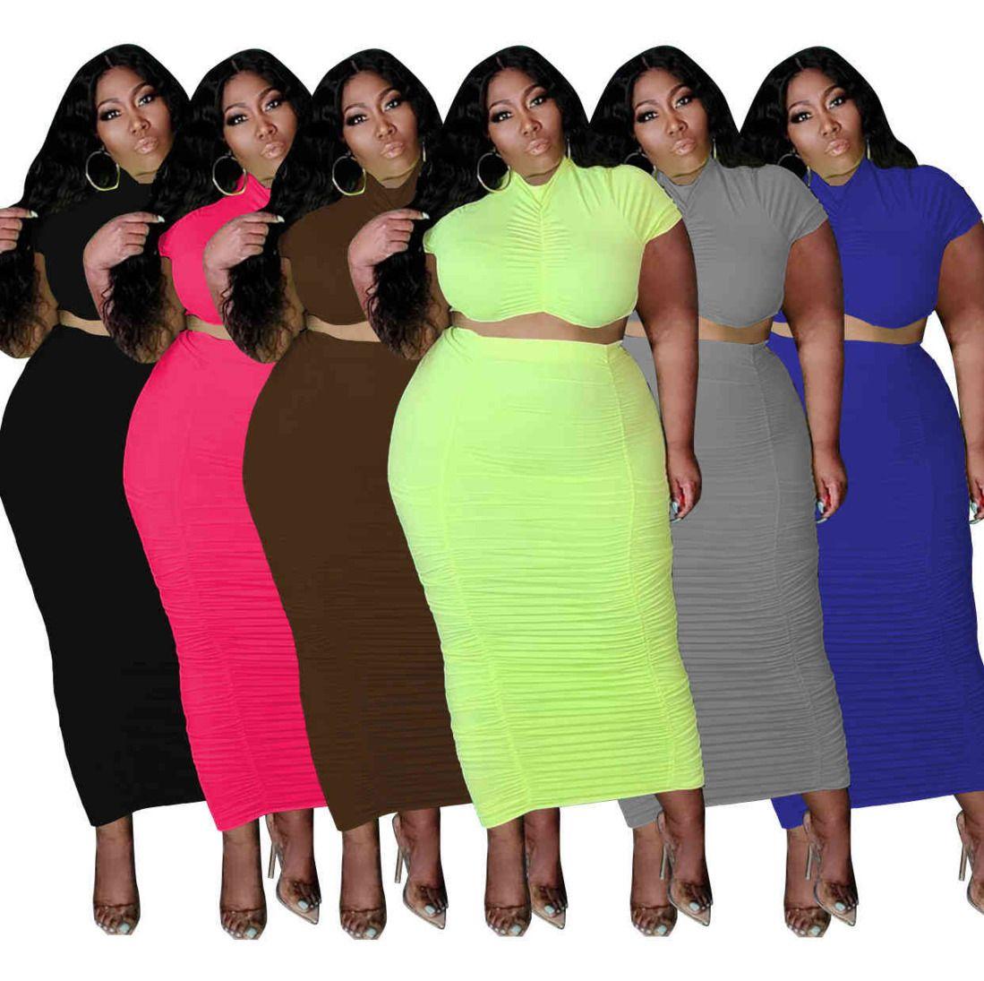 Sommer plus Größe Frauen 2 Stück Kleid 3x 4x 5x Mode Freizeit Feste Farbe Kurzarm Lange Rock Große Größe T-Shirt Rock Anzug 6 Farben XL-5XL 8457