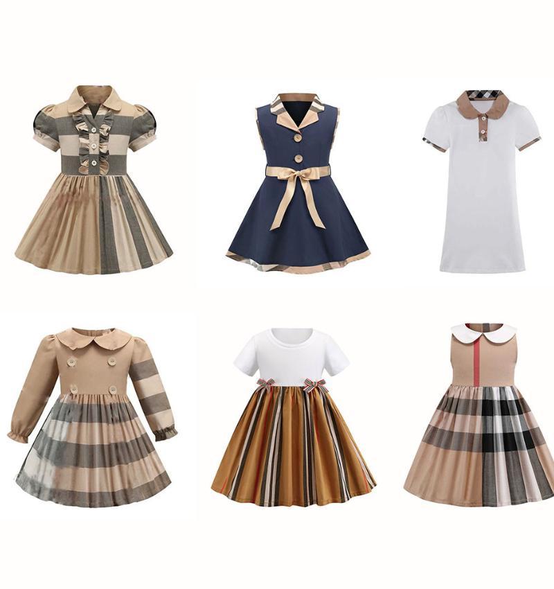 디자이너 소녀 드레스 옷 여름 공주님 아기 여자 드레스 아이 민소매 귀여운 격자 무늬 O 넥 목선 여자 옷을위한 드레스
