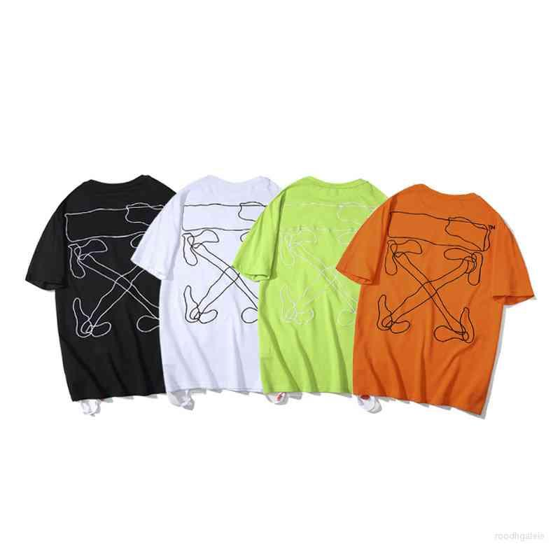 Men's Tshirts Tops Off Couple's Same Short Sleeve Chao Brand High Quality Round Neck Loose Bottomed Shirt Casual Half