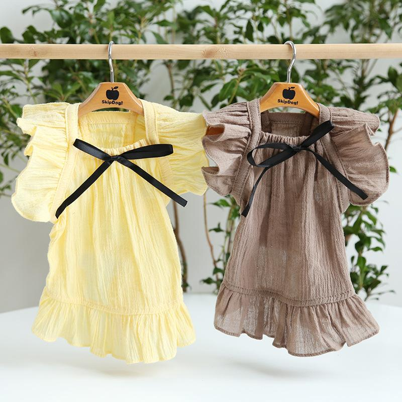 Summer Spring Petstyle 21 and Black Ribbon Flying Sleeve Skirt Temperament Kitty Dress Dog Pet Clothes