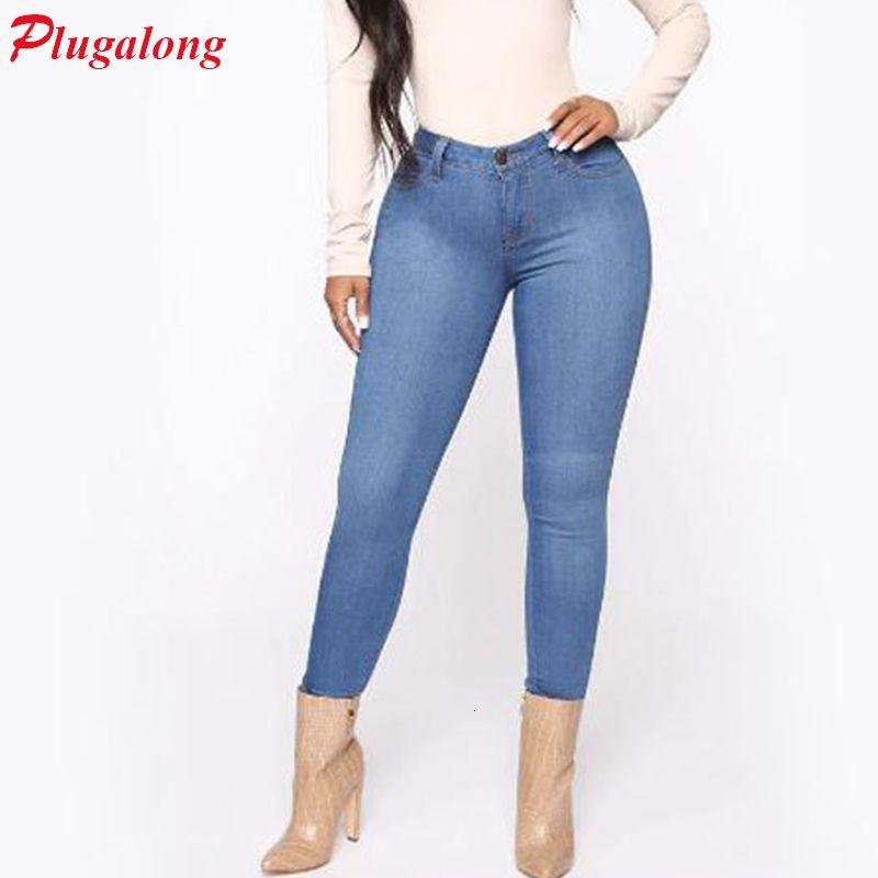 Plugalong Jeans High Taille NY Pockets Potlead Casual Blue Streetwear Estética Jean Baggy Denim Broek Ladies
