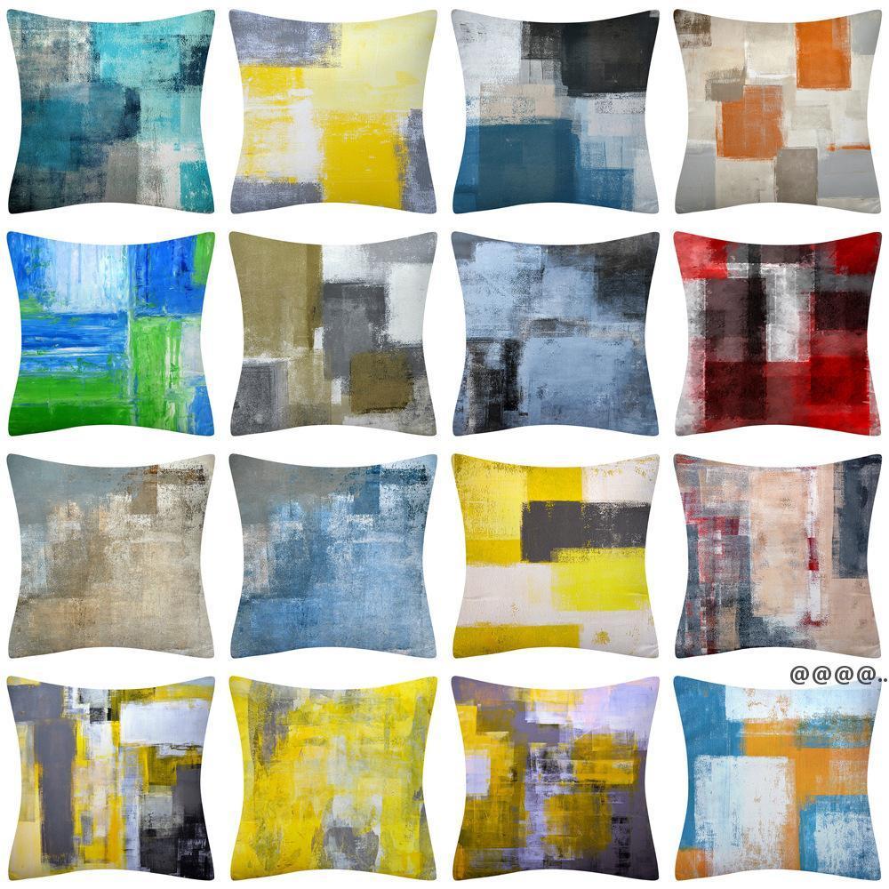 Türkis und graue Kunst Artwork Moderne Kissenbezug Grey Home Dekorative Wurfkissenbezüge Cushio für Schlafzimmer Sofa Living FWF6162