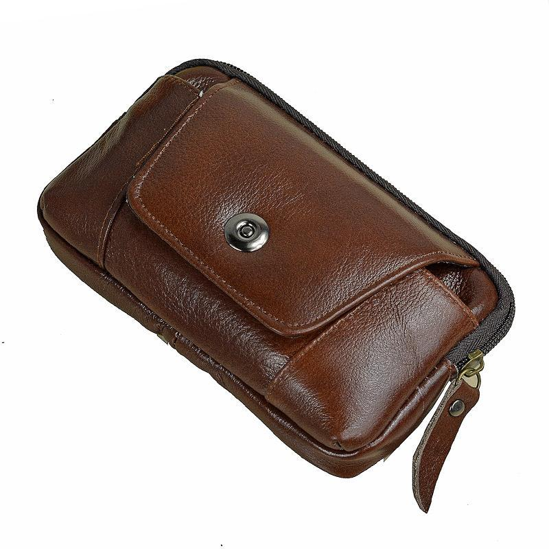 Men Genuine Leather Hip Bum Belt Bag Male Zipper Phone Pouch High Quality Waist Boy Fanny Packs Bags