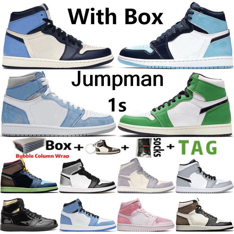 2021 New Arrival Top Quality Jumpman Retro 1 1s Hommes Chaussures de basket-ball Obsidian UNC sans Peur Travis Scotts Turbo vert Chicago sport Baskets Sneakers Taille 36-47