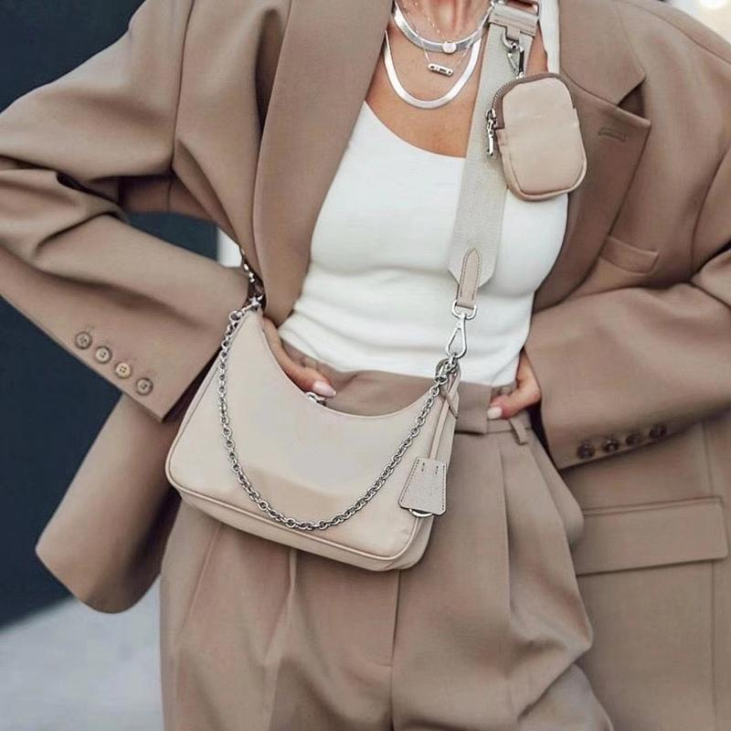Tre pezzi Set Borse a tracolla Hobos di alta qualità 2021 Lussurys Designer Designer Handbag Messenger Donne Totes Fashion Crossbody Portafoglio Ladychest Catene composite Catene Canvas