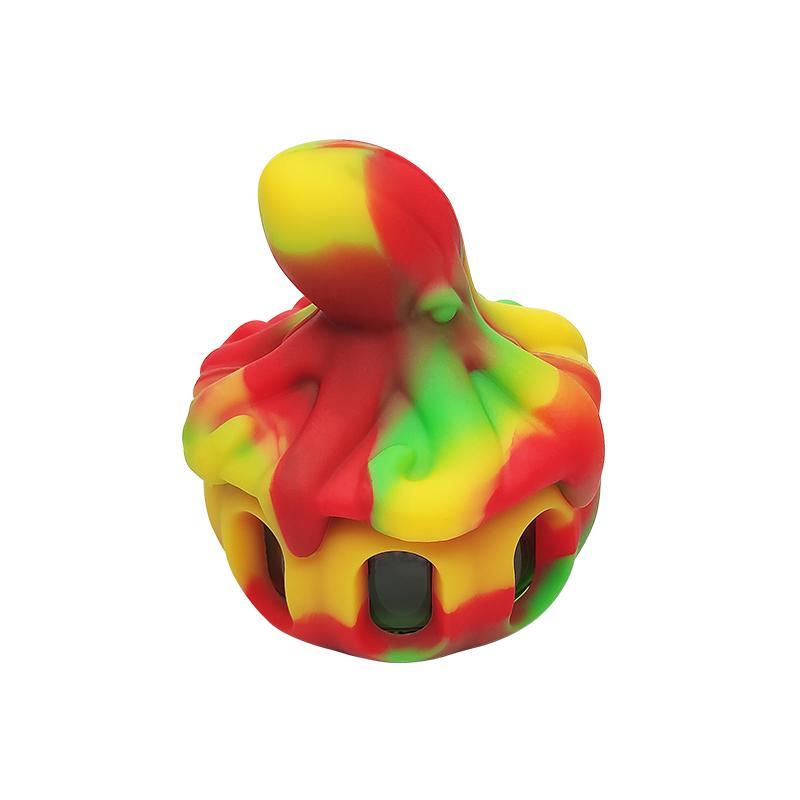 WaxMAID-Großhandel Octopus geformtes Silikonglas-DAB-Schüssel Rauchen Zubehör Wachsgefäß Sechs Farben mit einer Geschenkbox-Paketschiff aus dem US-Lager