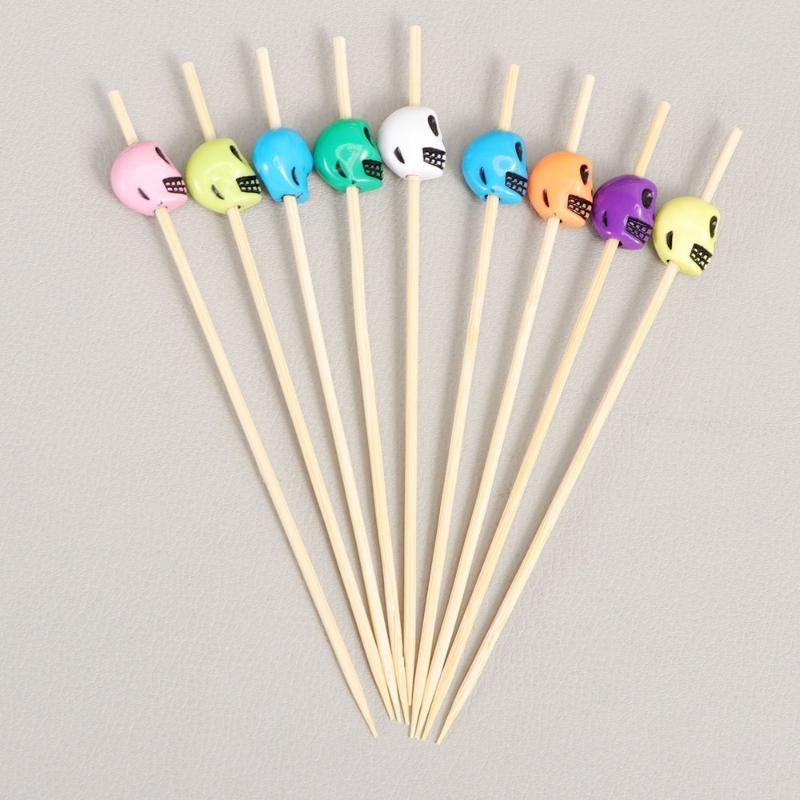 Forks 100pcs Picks Cocktail Fruit Appetizer Drink Sticks Disposable Bamboo Toothpicks Party Supplies(Pattern)