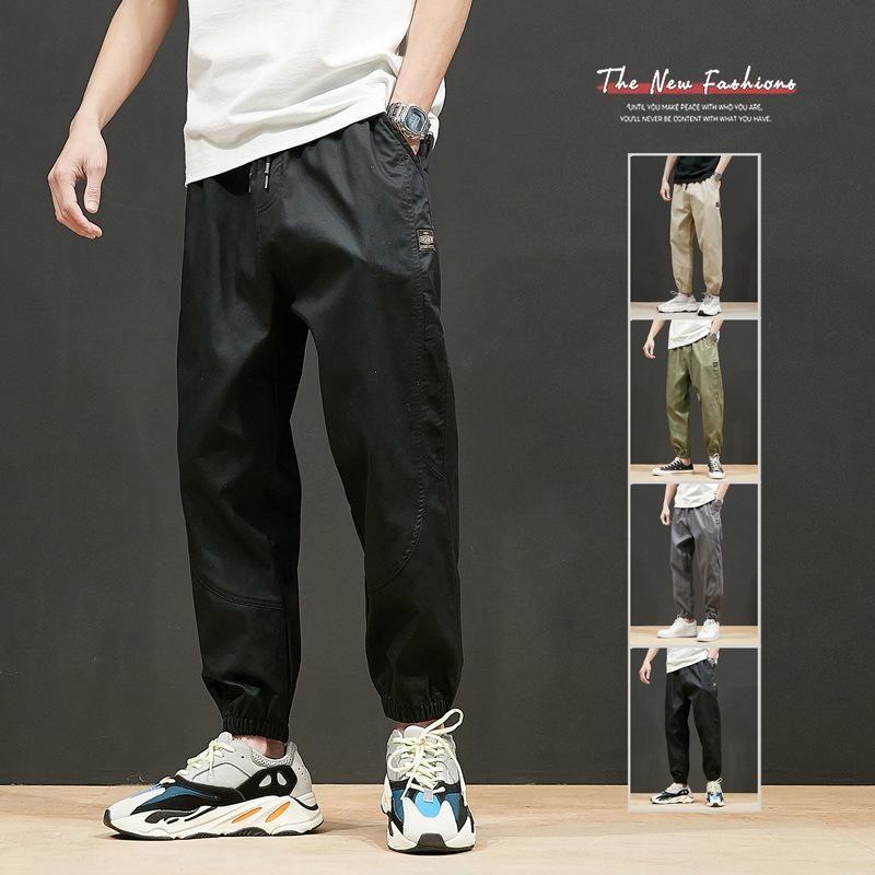 Jeans masculinos grandes calças casuais primavera e outono capris juventude coreana solta esportes