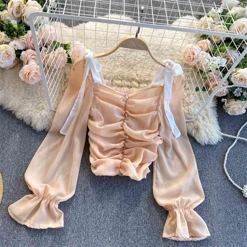 Top Women's Hit Breters Breters Stitching Piega Secco quadrato Lantern Manica Slim Short Chiffon Camicia UK799 210506