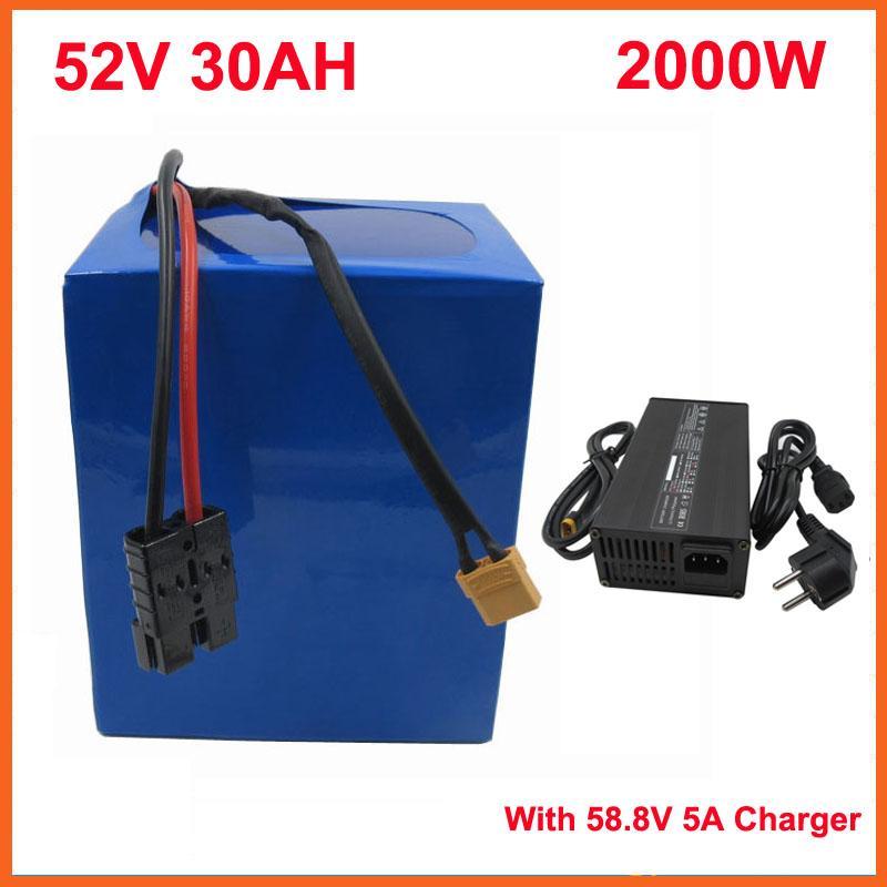 2000 W 52 V 30AH Lityum 14s Elektrikli Bisiklet Pil Kullanımı 3.7 V 5000mAh 26650 Hücre 50A BMS 58.8 V 5A Şarj
