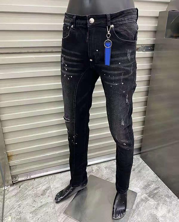 Calças de moda homens jeans afligidos motociclista rasgado slim ajuste motocicleta motocicleta denim para homens s moda mans calças pretas