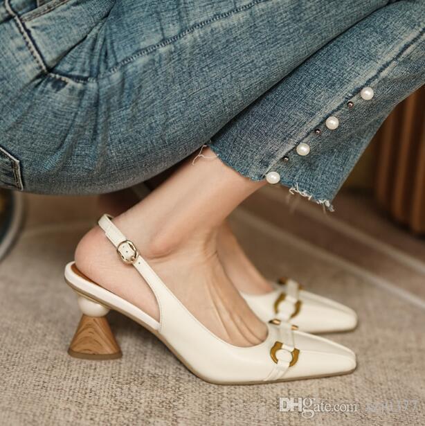 Designer Frauen High Heel Schuhe 6 cm Abnormale Fersen Spitz Zehen Echtes Leder Einfachheit Shallow Mund Mode Dame Sandalen