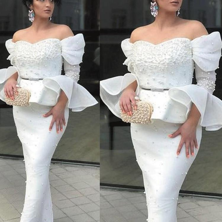 South Africa Sheath Mermaid Prom Dresses Ruffles Pearls Beaded Floor Length Formal Evening Dress Off Shoulder Long Sleeves Occasion Party Gowns