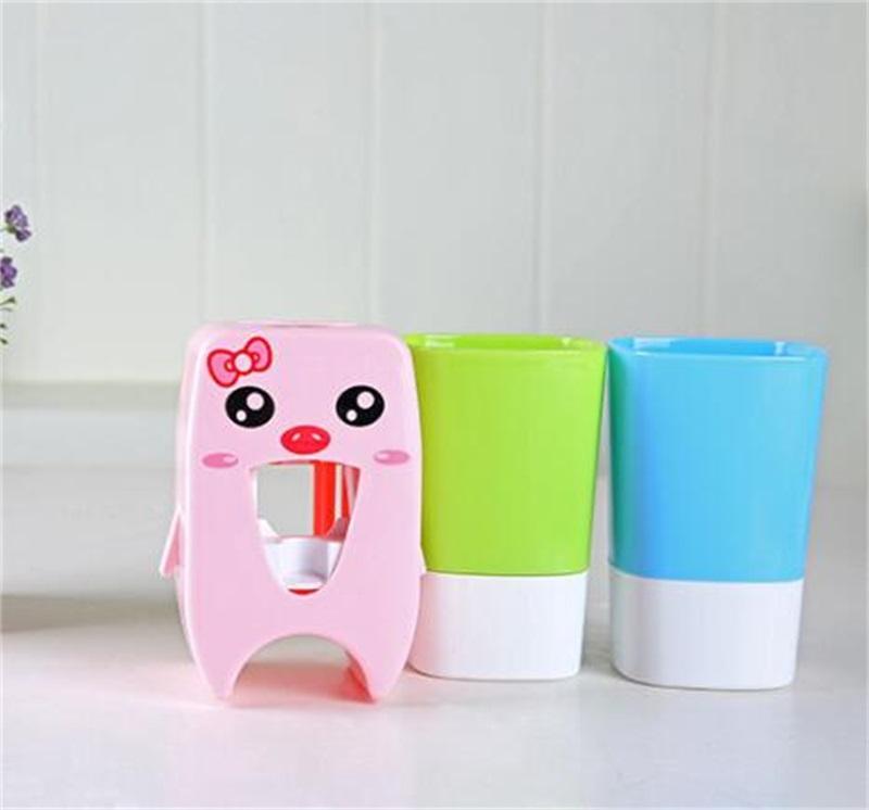 Главная Автоматическая зубная паста Диспенсер семейный держатель зубной щетки для ванной комнаты бытовой настенный монтажный стеллаж Ванна Набор зубной пасты Squeezer 1402 V2