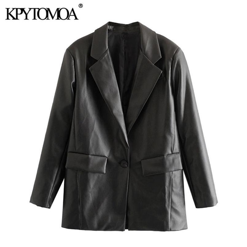 Kadın Moda Faux Deri Cepler Gevşek Blazer Ceket Uzun Kollu Geri Genginler Kadın Giyim Şık 210420 Tops