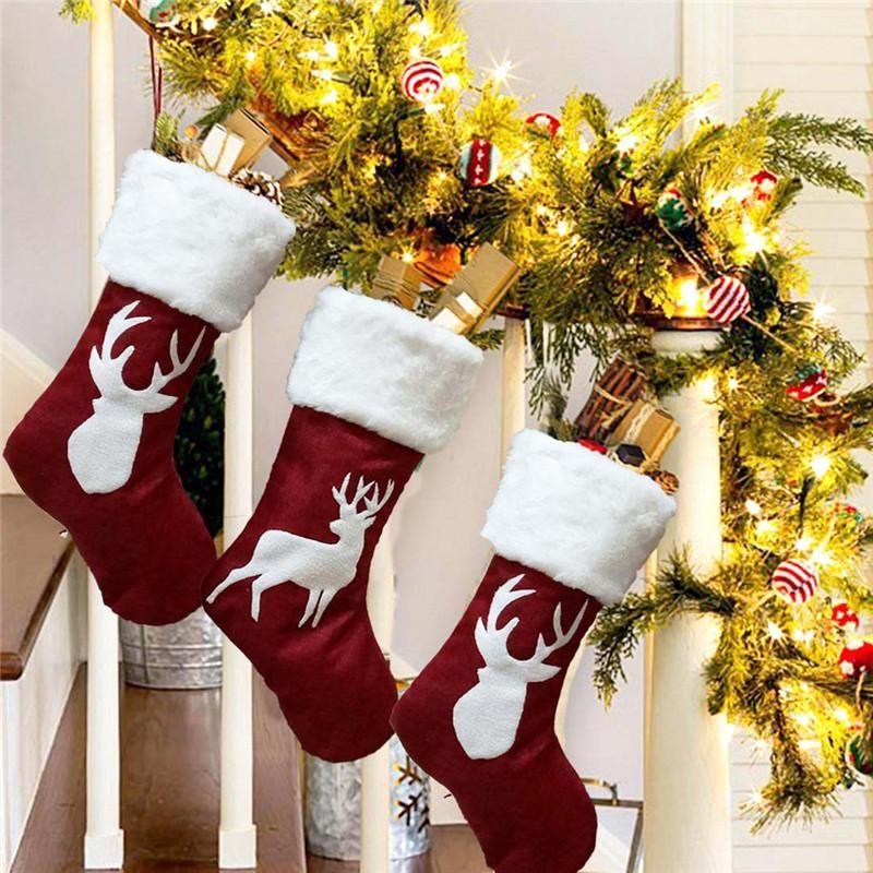 Decoraciones de Navidad Medias Colgante Tres Paño Árbol Elk Copo de nieve Ornamento Imprimir Partido Decoración del hogar Bolsa de regalo