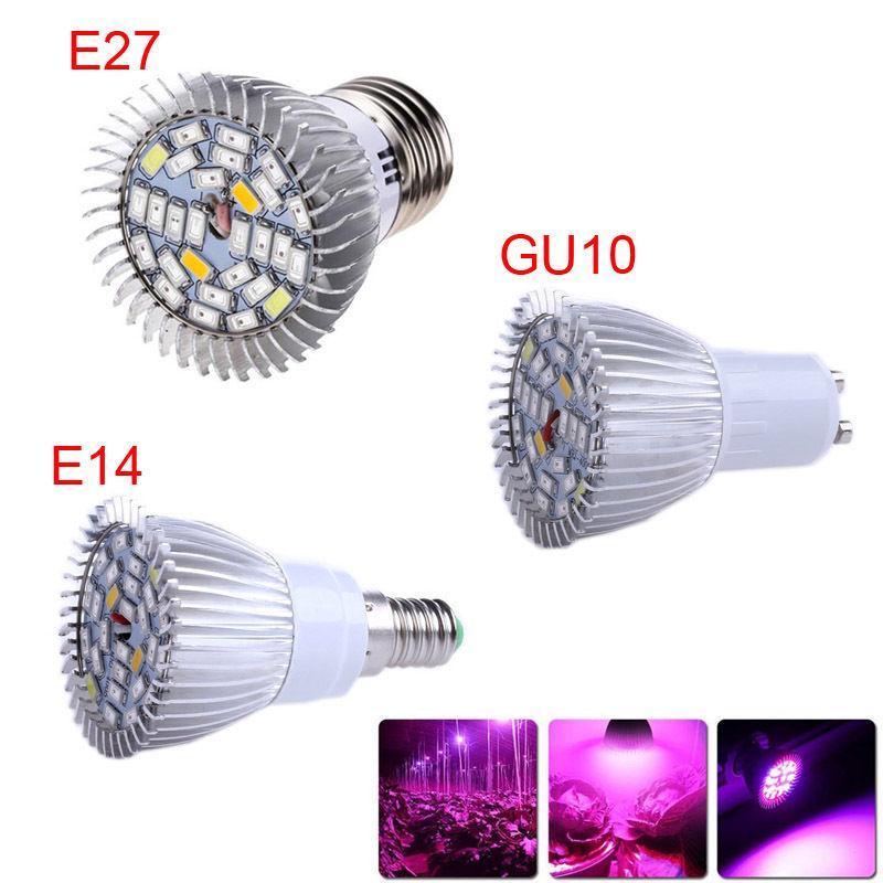 10pc / lot-LEDs wachsen Licht volles Spektrum 28SMD E27 GU10 E14 rot blau weiße LED-Lampenbecher für Blumen-Pflanzenlichter