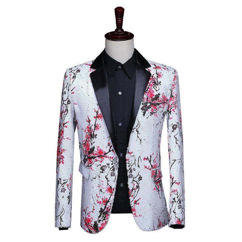 Men's Suits & Blazers Mens Suit Jacket Sequin Men Tuxedo Wedding Chaqueta Formal Hombre Blazer