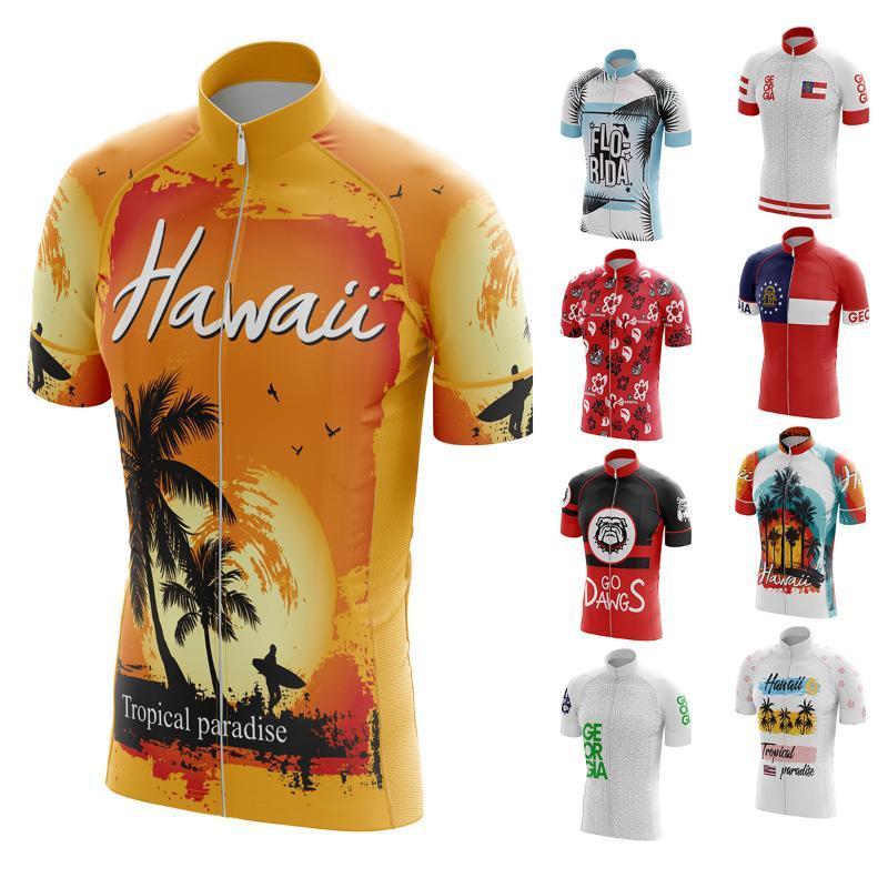 Spor Giyim Turizm Bisiklet Jersey 2021 Erkek Sörf Veya Plaj Desen Ciclismo Spor Yuvarlak Boyun Kısa Bisiklet Gömlek ABD, TYZ258
